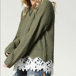 Sweaters - Lace detail sweater